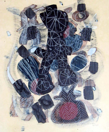 Lee Mullican, Untitled, 1957, ink/watercolor/paper, 13 3/4