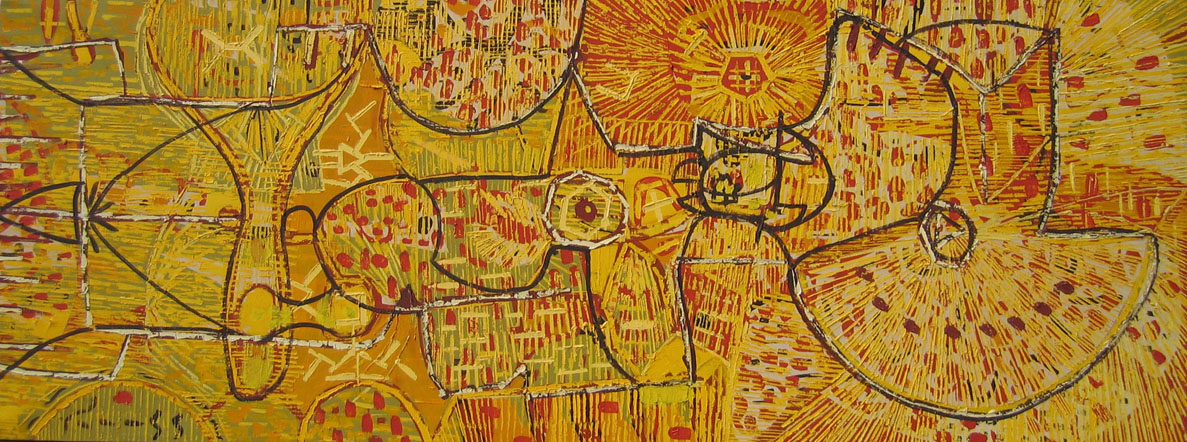 Lee Mullican, Untitled, 1949, oil/canvas, 18 1/4
