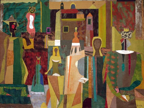 Jean Varda, Carnival, ca. 1955, collage/board, 29 1/2