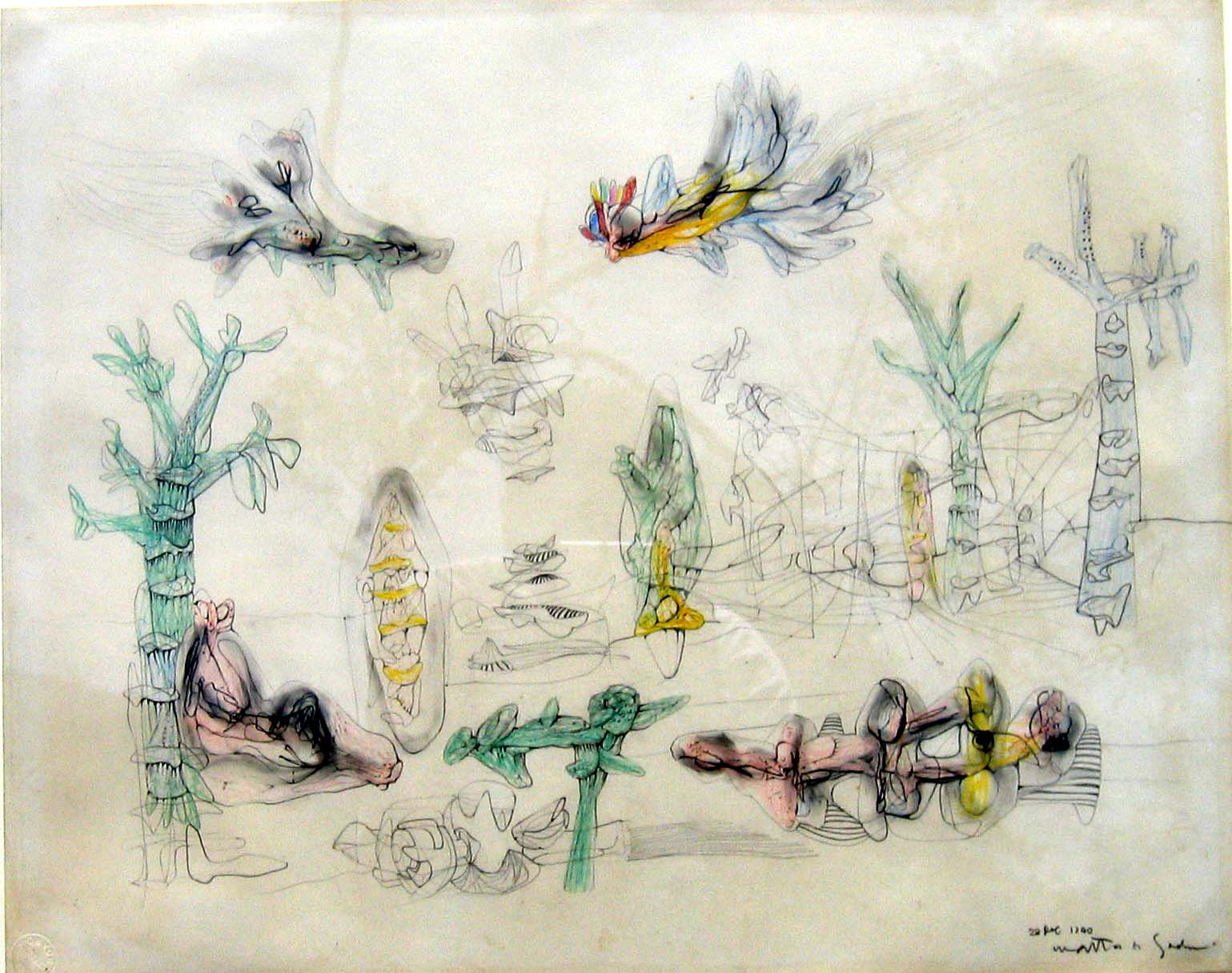 """<i>Drawing for Invasion of the Night</i> Graphite, colored pencil on paper, 26 1/4"""" x 30"""", 1940"""
