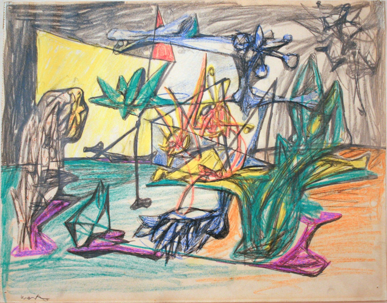 Roberto Matta Psychological Morphology (Meeting The Muse) Graphite, colored pencil on paper, c 1940