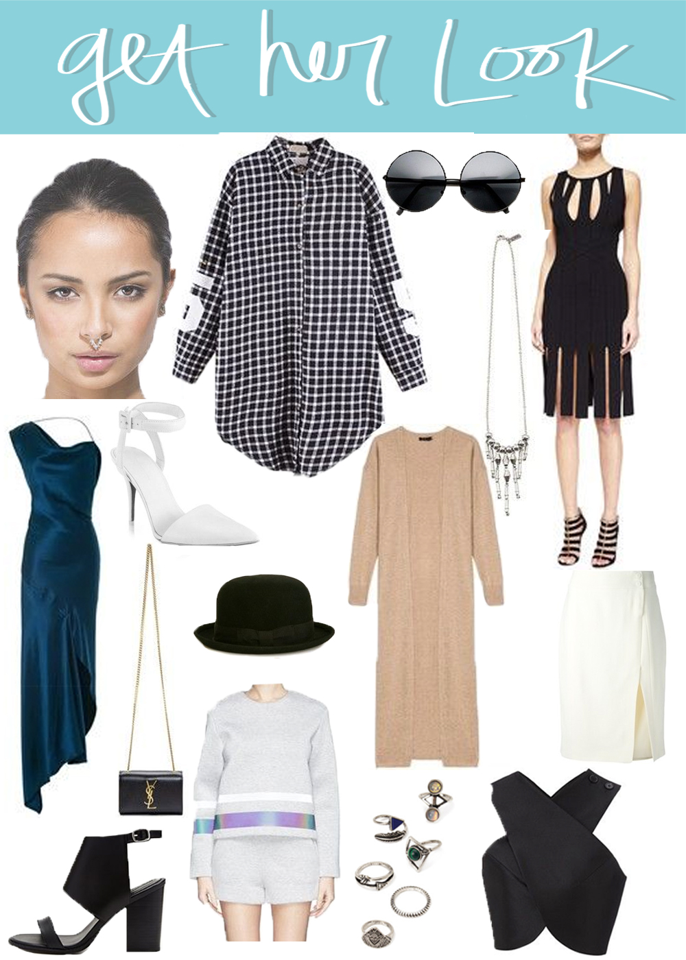 West L.A.  Juno Septum Piercing // Choie's  Oversized Black Plaid Shirt // Zerouv  Oversized Round Sunglasses // Vanessa Mooney  Moth to Flame Necklace // Cushnie et Ochs  Cutout Paneled Skirt Dress // Cushnie et Ochs  Double Charmeuse Nile Dress // Alexander Wang  Leather Point-Toe Pumps // Urban Excess  Pick Laurel Soft Bowler Hat // Joseph  Cashmere Long Cardigan // Jason Wu  Side Slit Pencil Skirt // Saint Laurent  Chain Clutch (Similar) // Forever 21  Leather Ankle Cuff Sandal // Forever 21  Etched in Stone Midi Rings // Carven  Black Satin Cropped Top