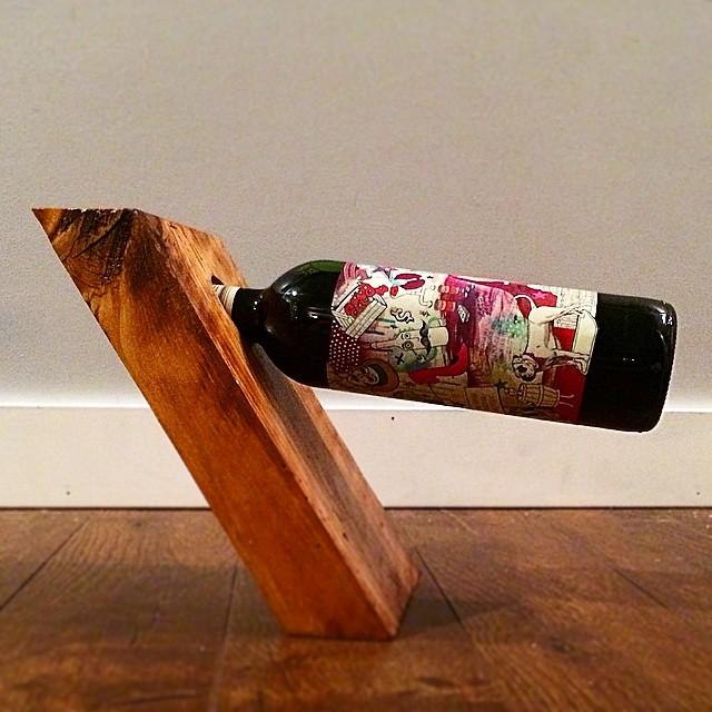 Barnwood bottle holder display