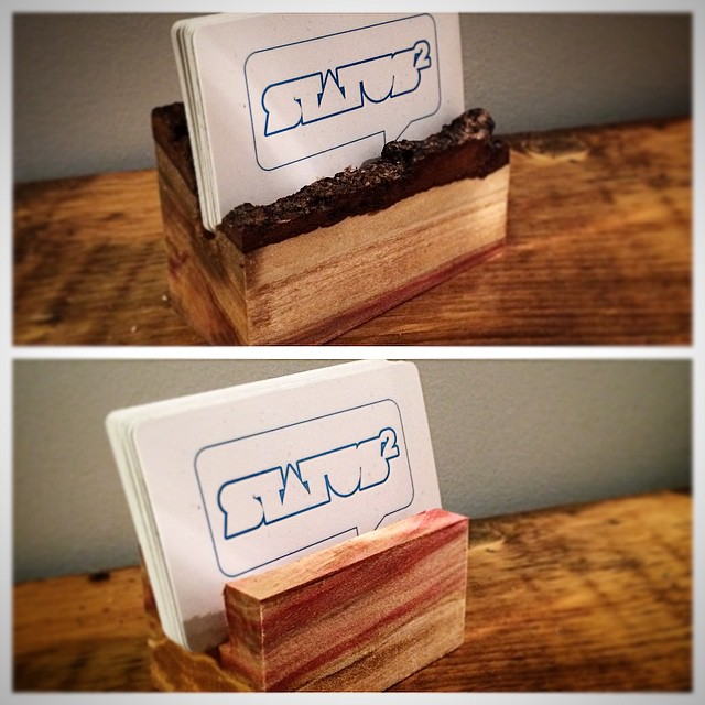 Live edge business card holders