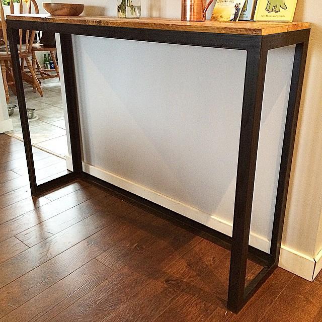 Custom built sofa table