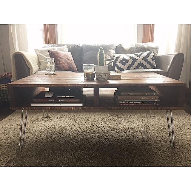 Custom built pallet style coffee table on hairpin legs