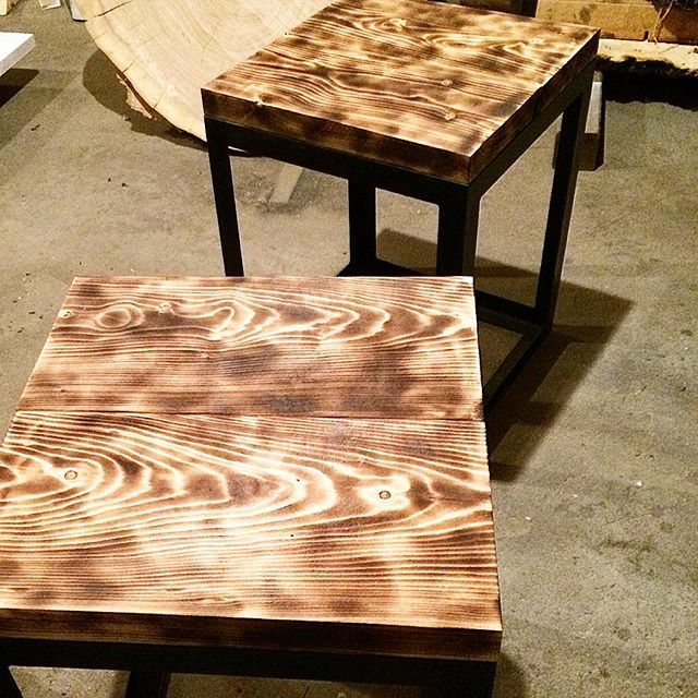 Scorched end tables