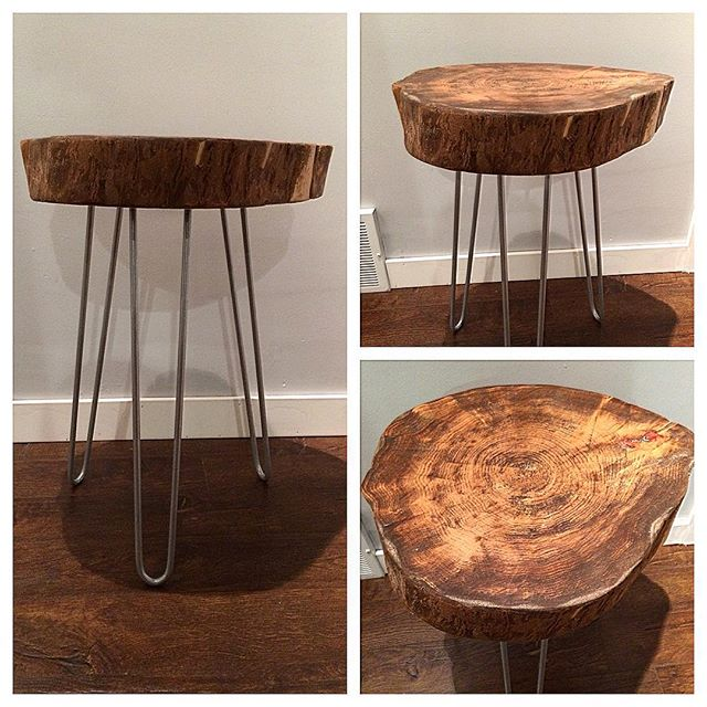 Wood disc end table with hairpin legs