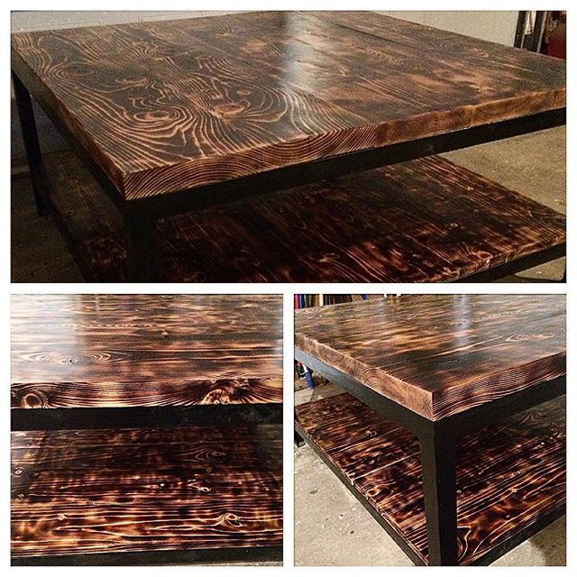 Cusom scorched coffee table set