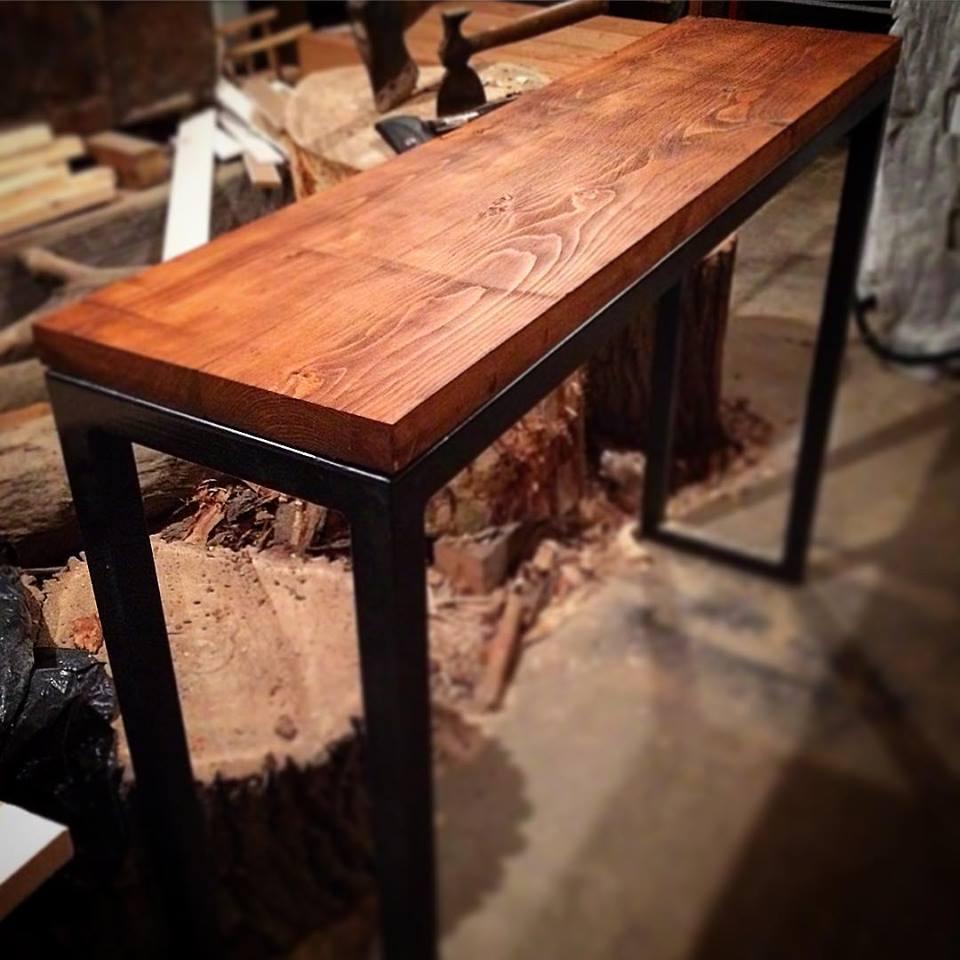 Reclaimed spruce sofa table