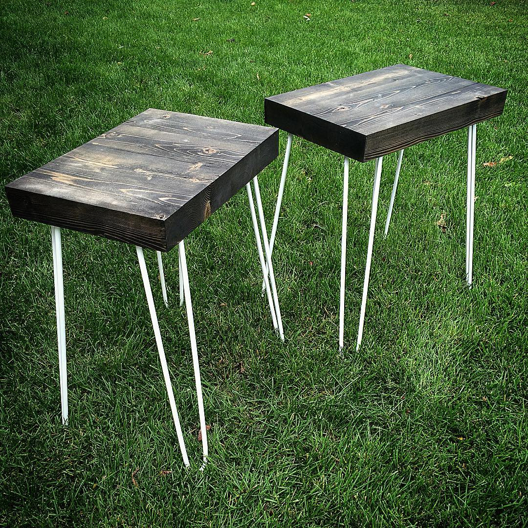 Reclaimed barnwood end tables with classic hairpin legs