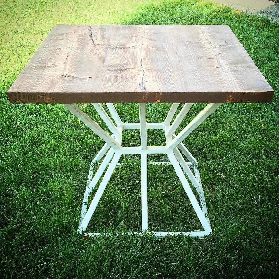 """Reclaimed fir table top on 1"""" square steel tube geometric base"""