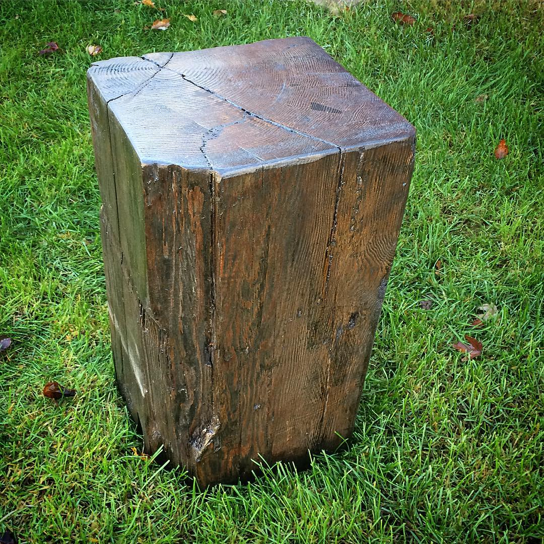 Reclaimed timber end table finished with ebony stain and semi-gloss