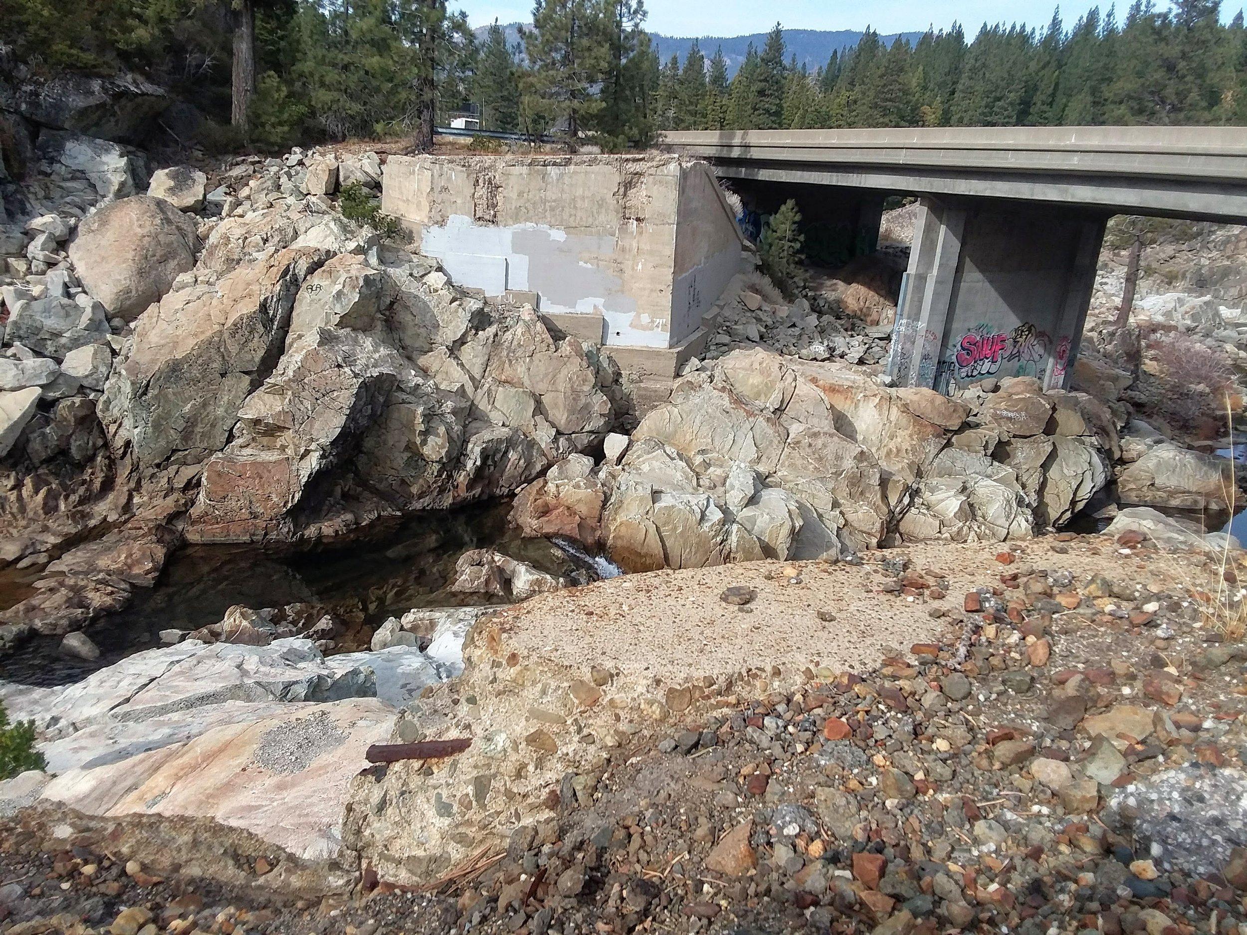 Old site of Highway 40 bridge, with present day Interstate 80 bridge, westbound lanes behind.