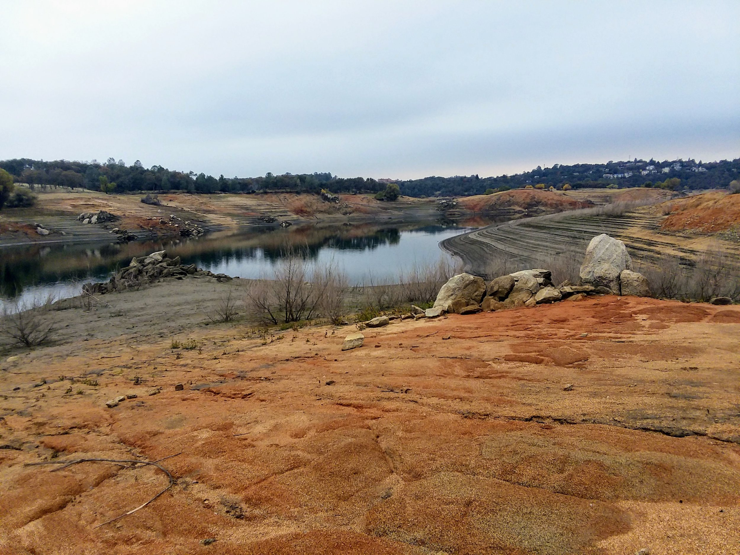 Folsom Lake at low levels, Rattlesnake Bar.