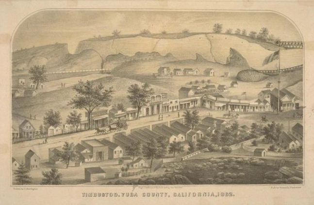 Timbuctoo in 1862. The stage is passing in front of Stewart's Wells Fargo Store.