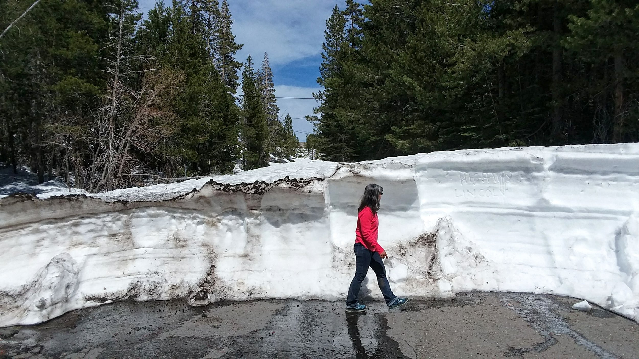 Monica at Donner Summit and the snowed in Lincoln Highway., May 2019