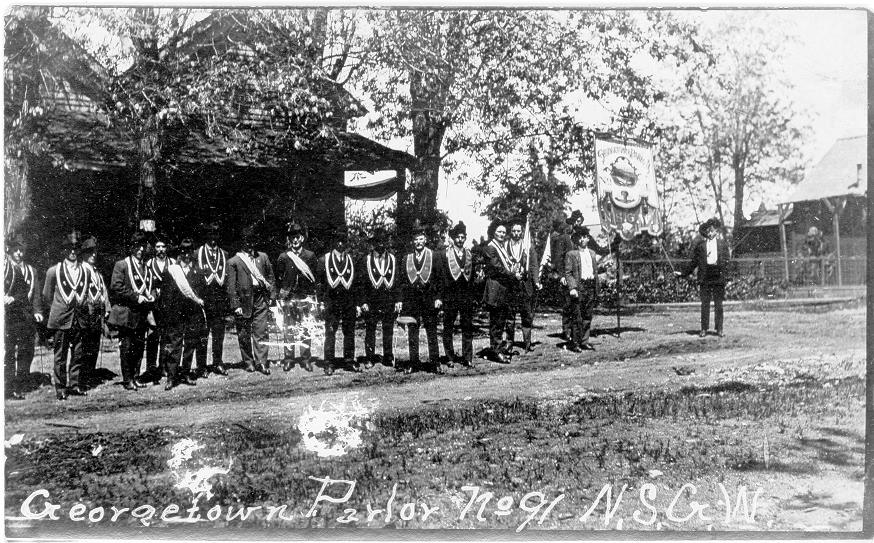 Georgetown Native Son's of the Golden West, 1800's, and their banner.