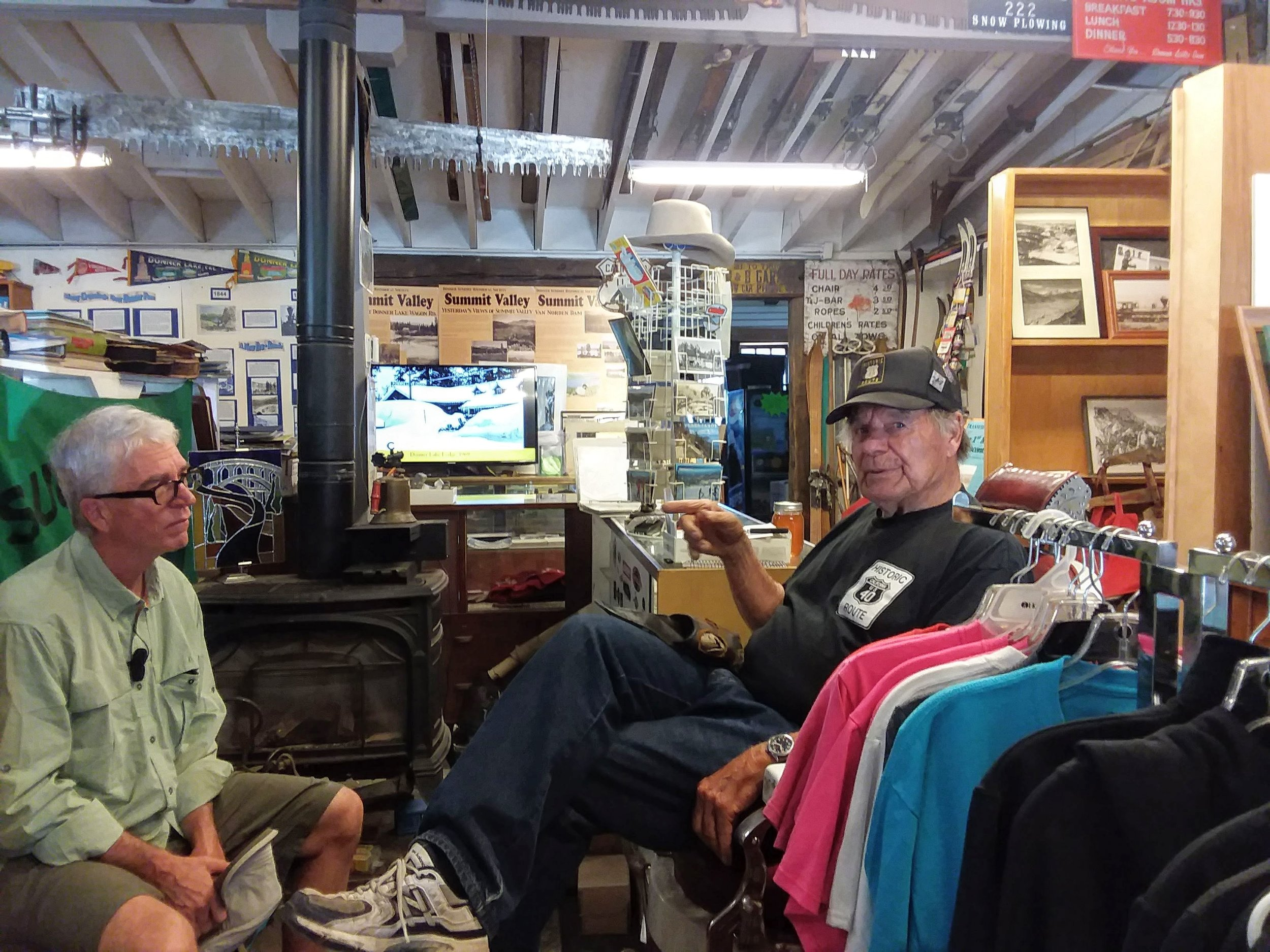 Trey and Norm talking in The Donner Summit Historical Society Museum at Soda Springs.