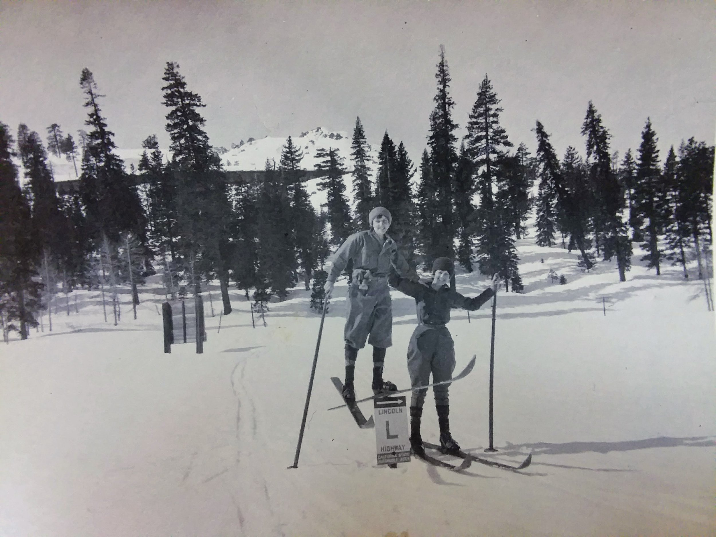 Notice the Lincoln Highway Sign buried in the snow! Photo from Donner Summit Historical Museum, Norm Sayler collection.