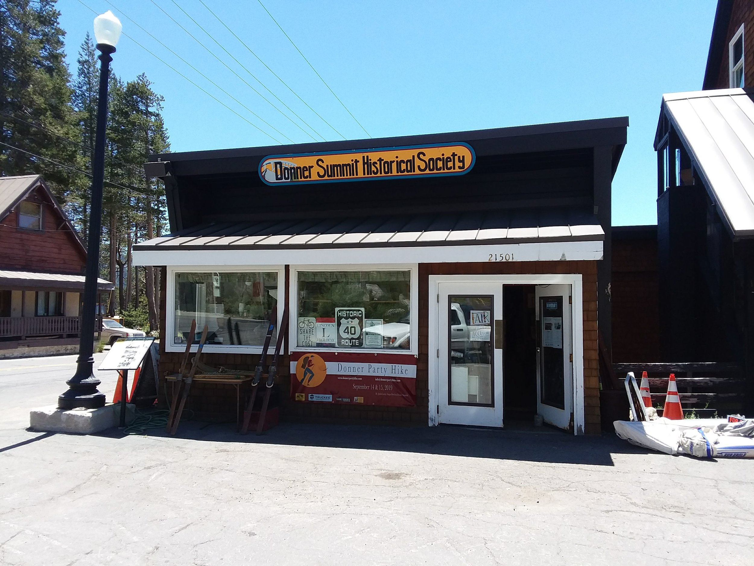 The Museum at the corner of Soda Springs Road and Donner Pass Road.