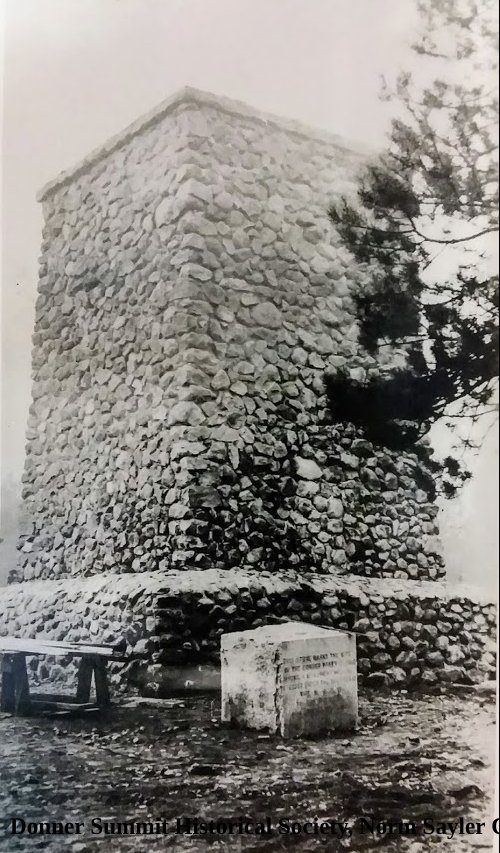 Photo of unfinished Donner Memorial statue, and cornerstone from Donner Summit Historical Society, Norm Sayler Collection.