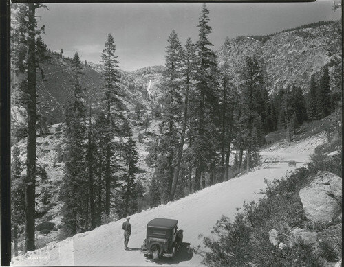 Looking the opposite direction, towards Pyramid Falls. Title: [Horse Tail Falls]  [1930] Collection: California History Section Picture Catalog Owning Institution: California State Library Permalink: https://calisphere.org/item/fbc9e08a35e687f91d3111c5856ce3c7/