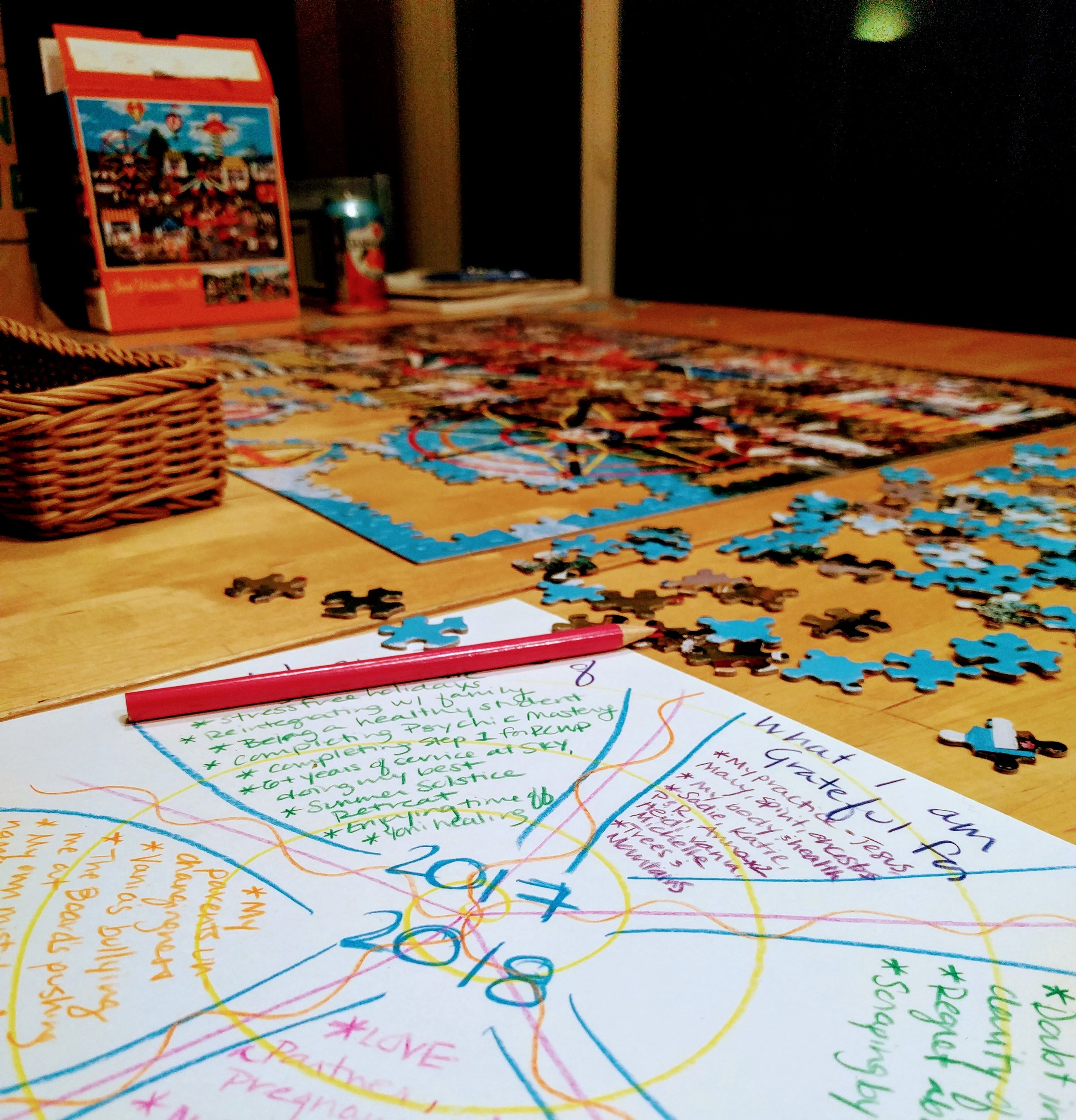 Puzzling and crafting my year review on New Year's Eve