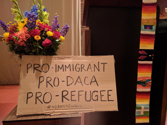 From an interfaith gathering in support of a local undocumented man receiving sanctuary at Gethsemane Lutheran Church in downtown Seattle.
