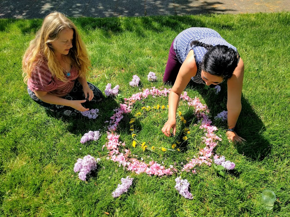Beltane Earth Mandala making with the Moon Circle women, 2018