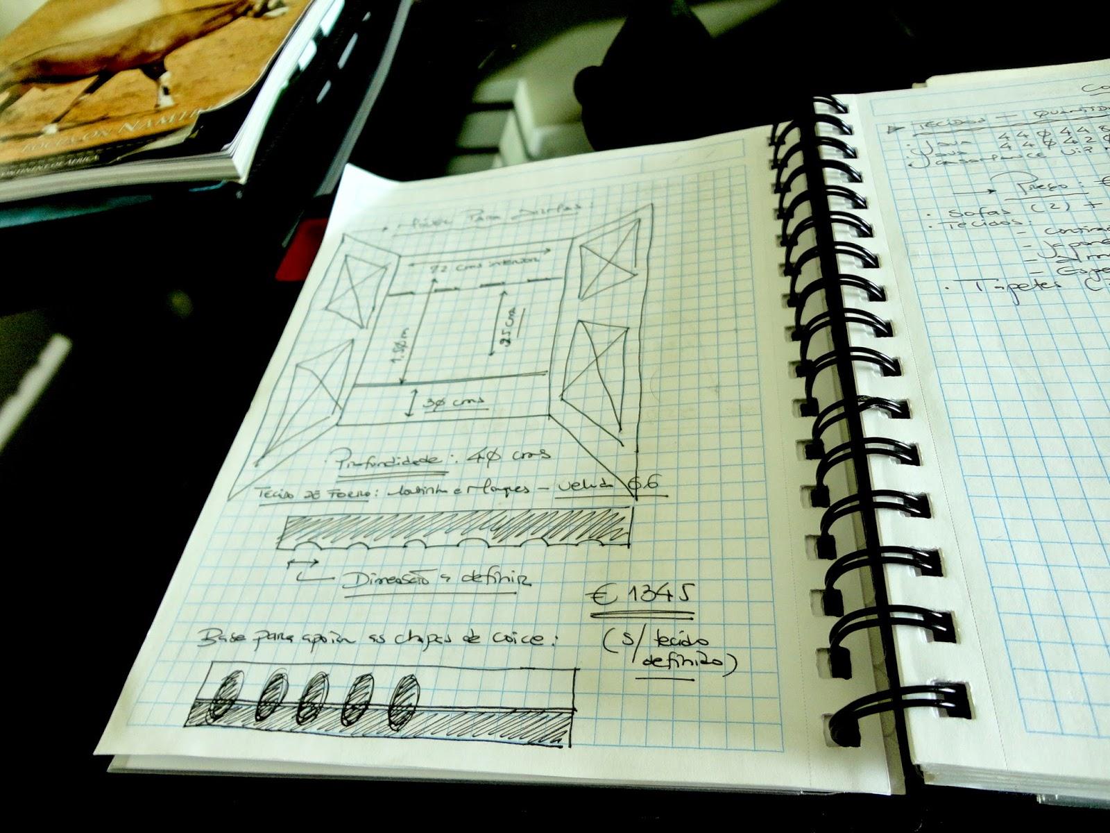 Adorei quando a Ana me disse que tinha o caderno com as notas todas do projecto de interiores da casa. Nesta página estão os pormenores para a construção do armário da imagem de cima tão detalhados como as carabinas que alberga todos os dias.
