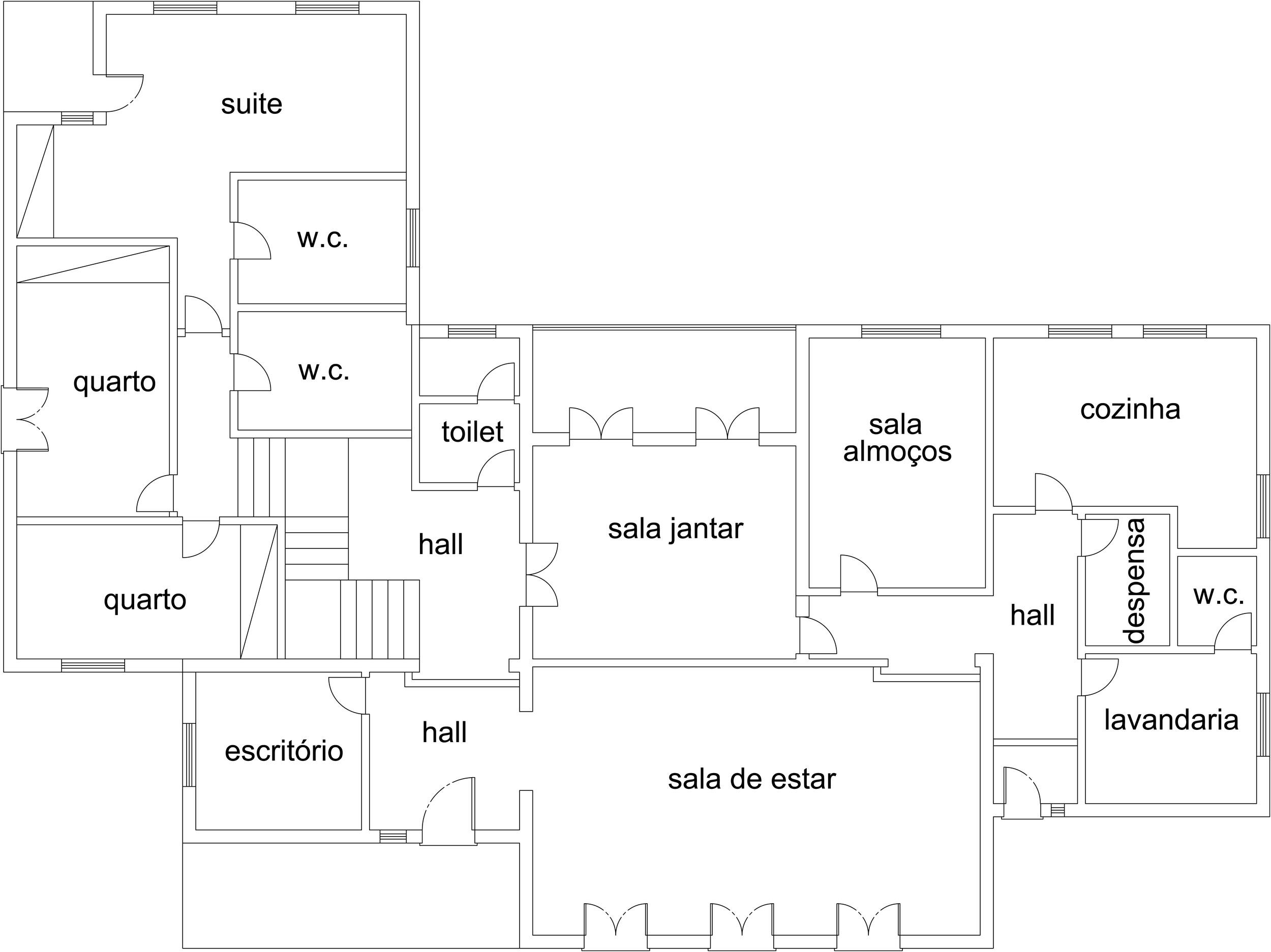 ANTES - era uma vivenda composta por 3 quartos, 3  water closets, toilet,  sala de estar, 2 salas de refeições, escritório, cozinha, lavandaria e despensa.