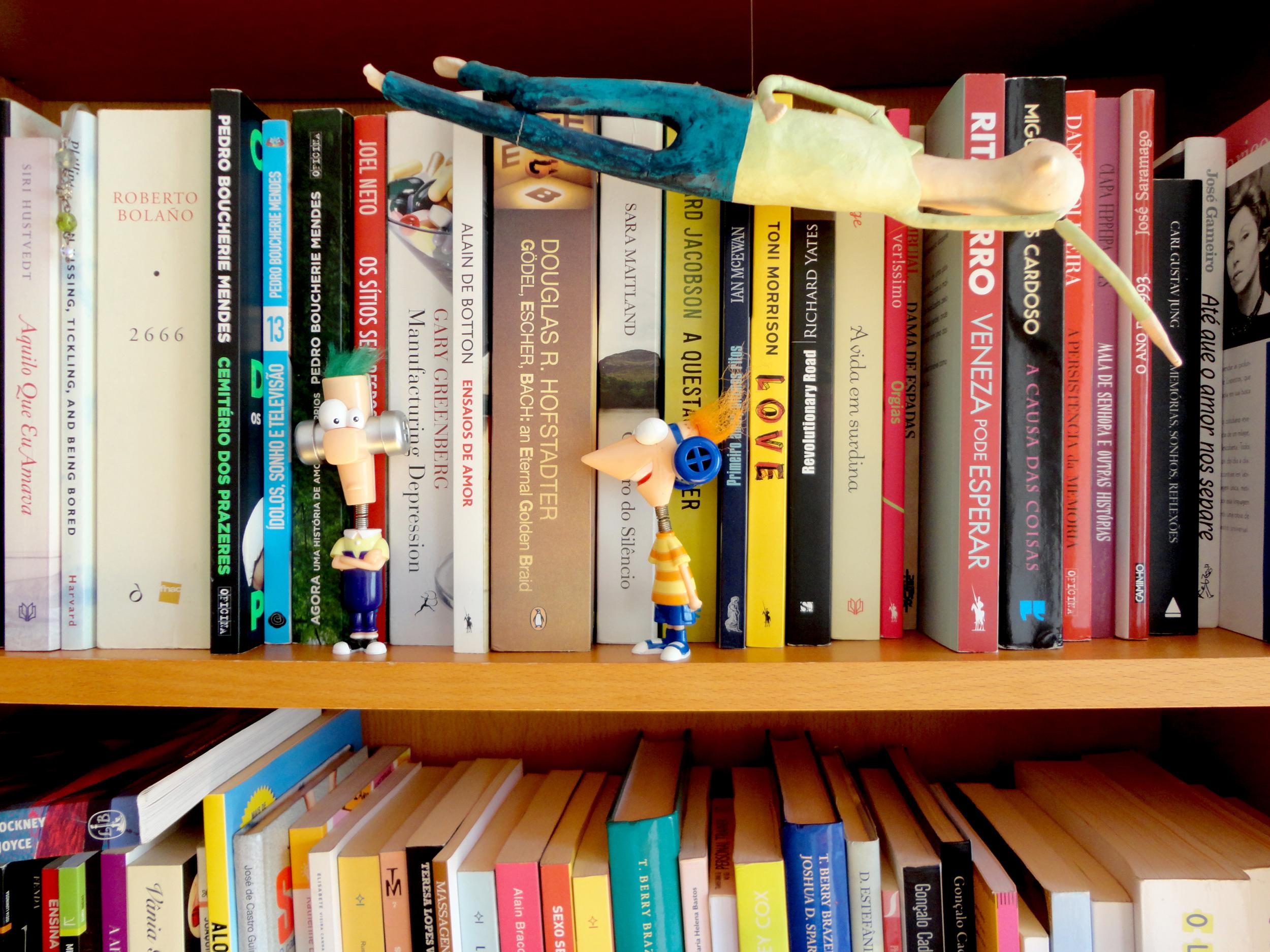 os livros e os bonecos são uma constante