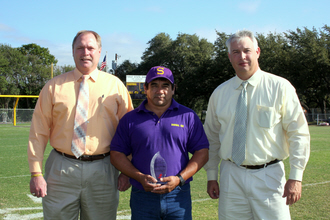 MVP Ruben Olivares With Superintendent Richard Grill and Director of Special Programs Michael Neuman