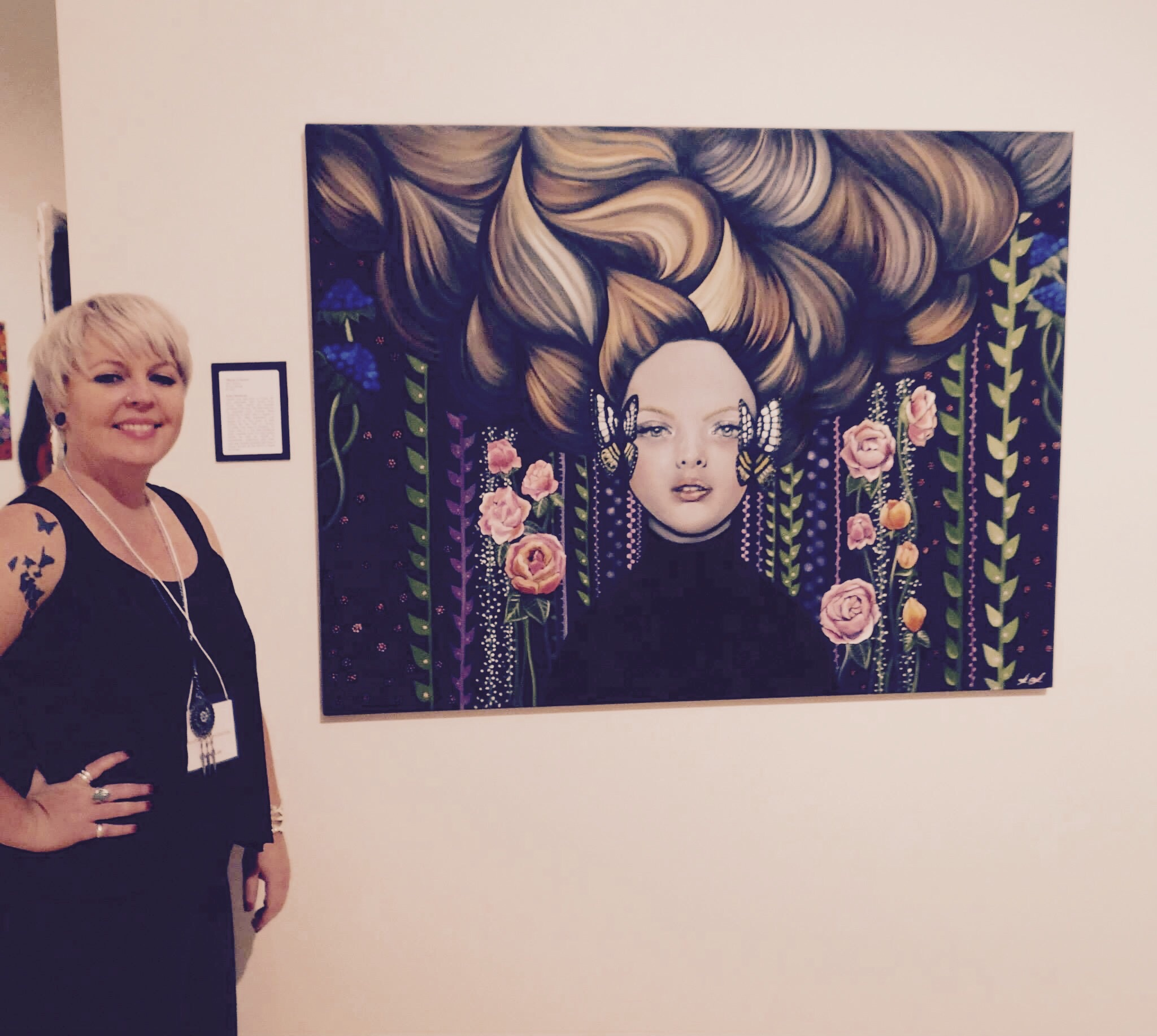 Me with my juried painting, Waves of Sound, photo by Larry Willis.