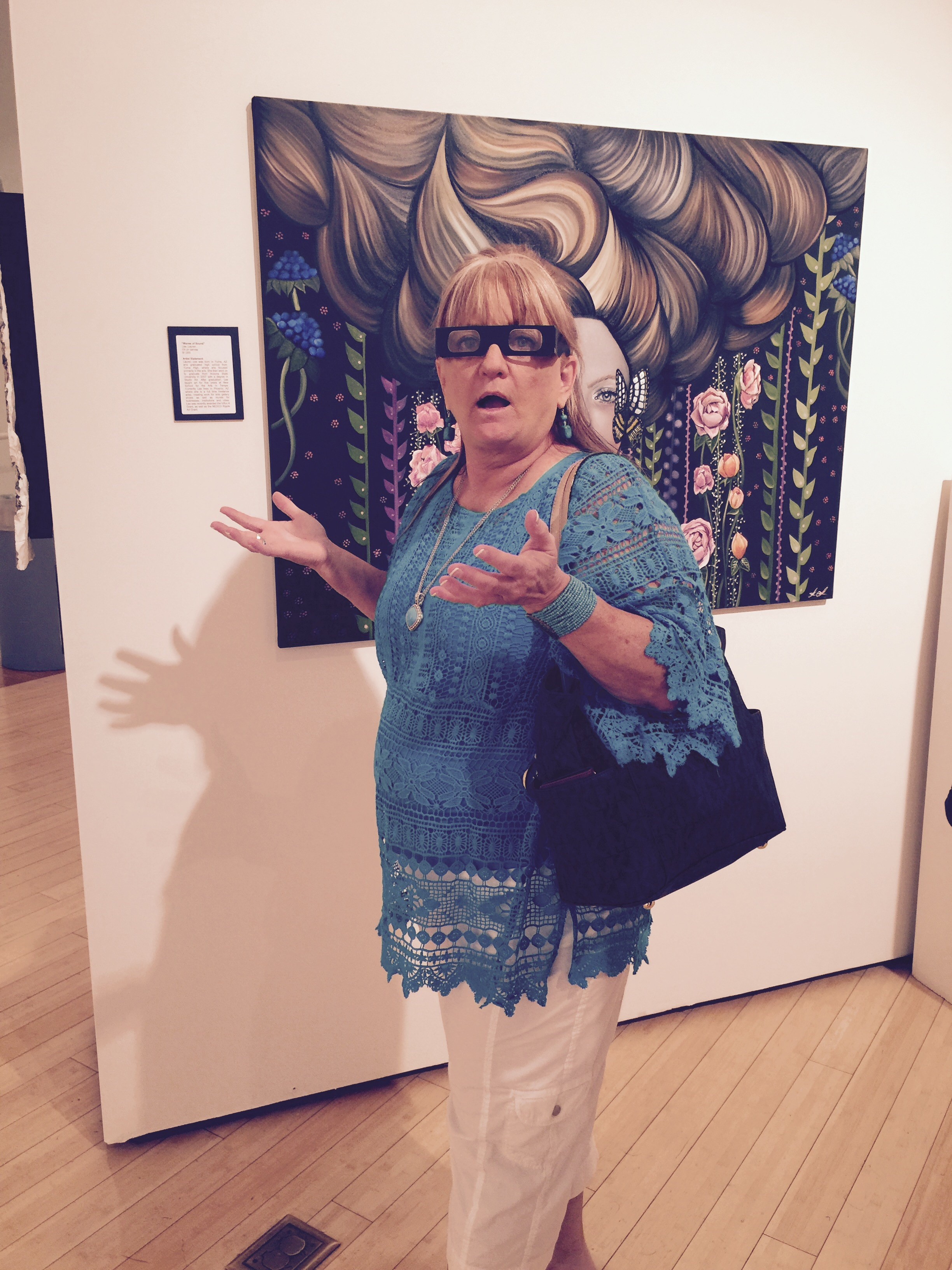 My mom in shock of how my painting looks in 3D, lol. Love this photo.