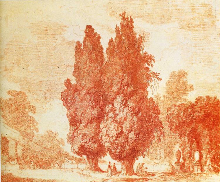Fragonard, Sanguine,Jardin Italien avec Cyprès, 1774