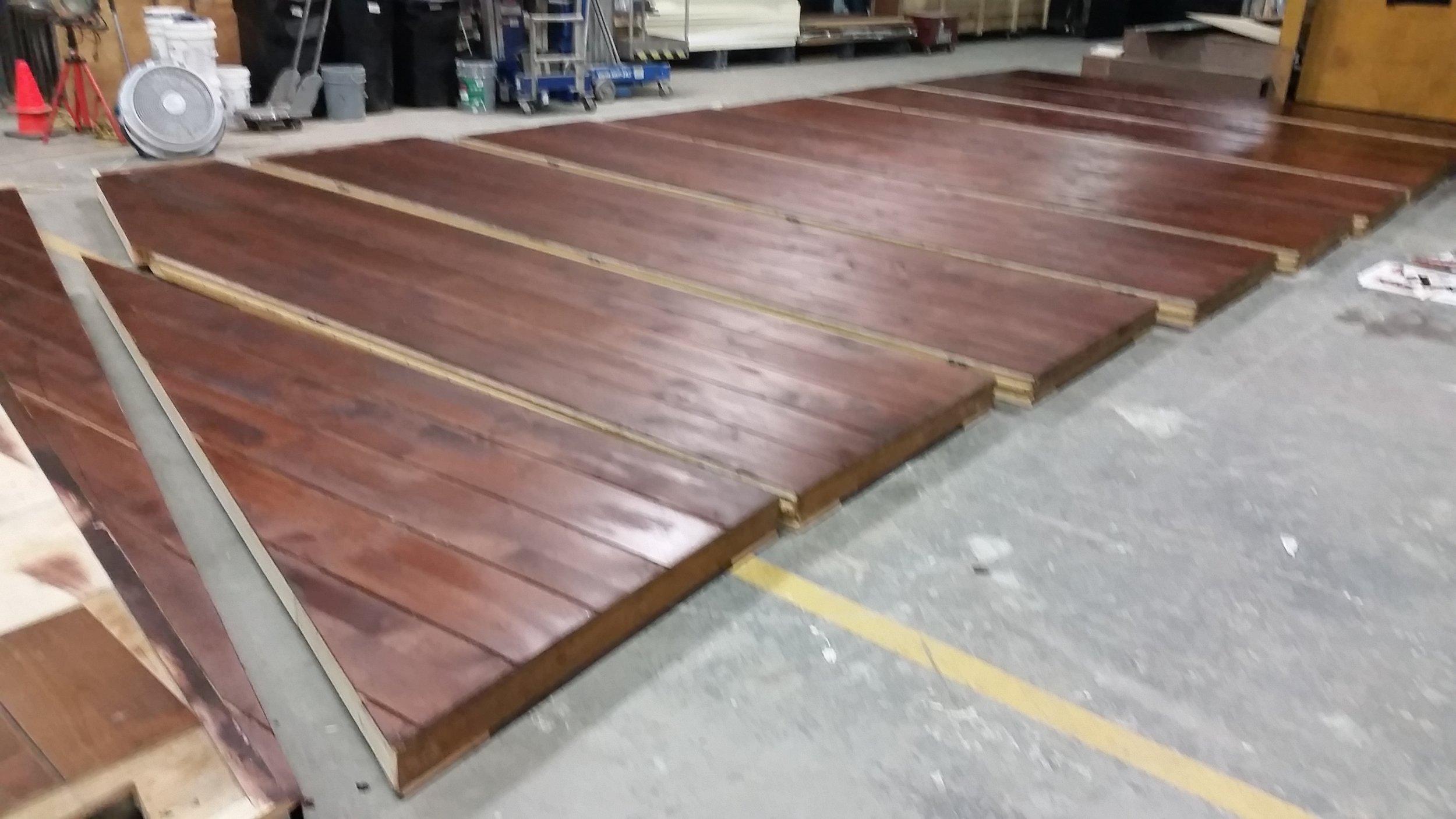 Mahogany Stained Flooring In Progress