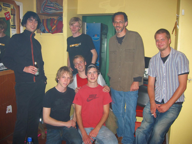 """The Ninth Evolver crew, backstage at the release party/concert for """"Evolver EP"""". (at  Garage , Bergen)  Hans Petter Lie-Nielsen, Audun Havåg, Geir Arne Ose, Geir Satre, Per Helge Lande, Andrew Scheps and Stein Hevrøy"""