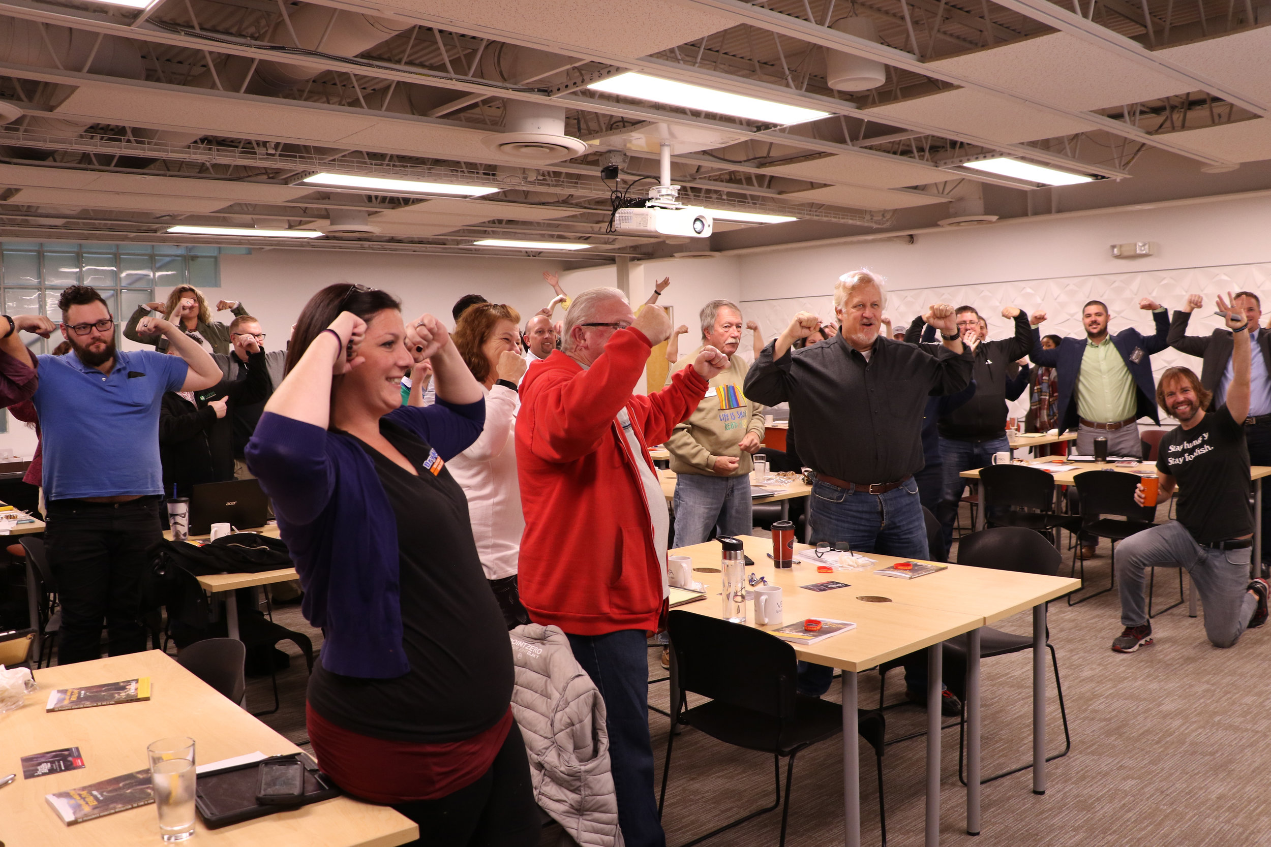 the marketing fun with mike community giving their best muscle flex after another amazing workshop!