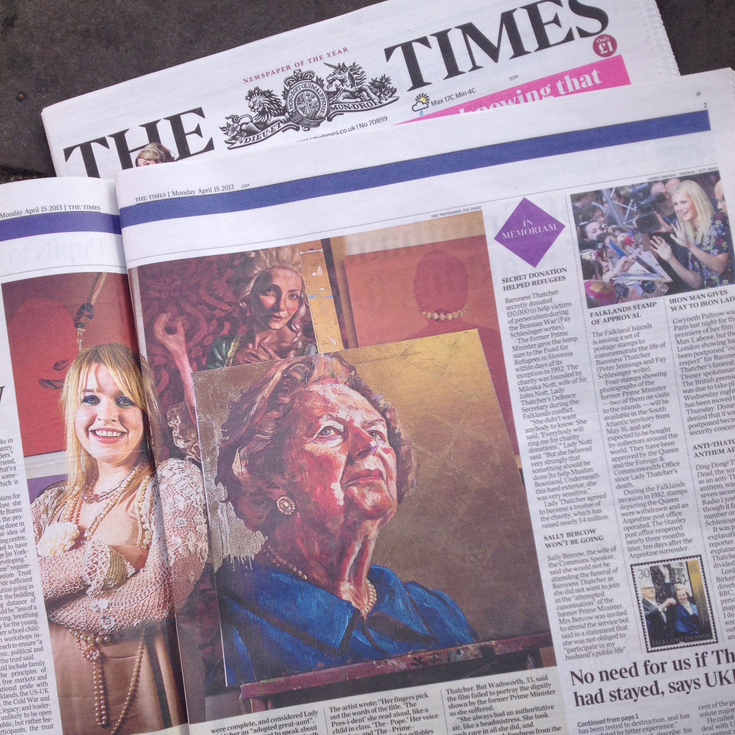 Click here to read about Lorna's portrait of Baroness Thatcher in The Times newspaper, who also published her a selection of her diaries of the sittings.
