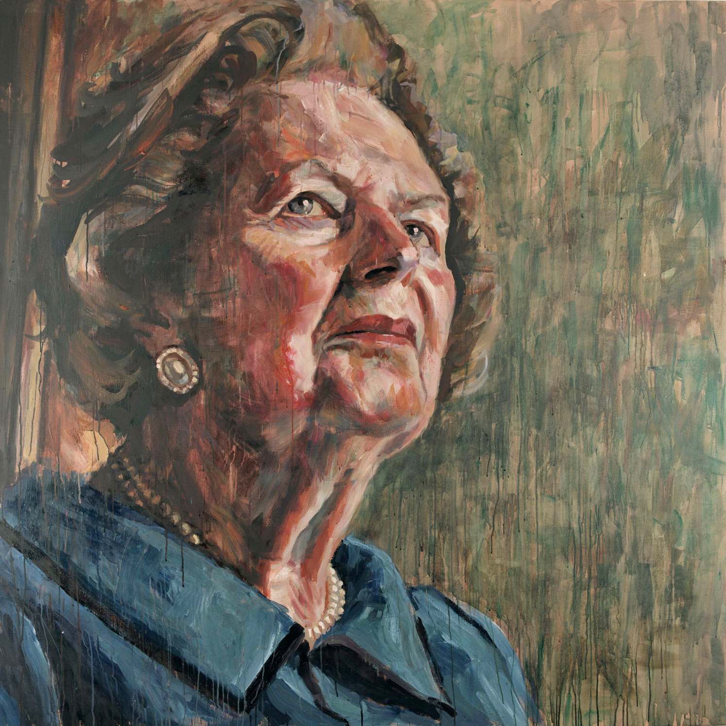 Baroness Thatcher  (Private Collection on loan to Conservative Party HQ) . 6 x 6 foot. Oil on linen.