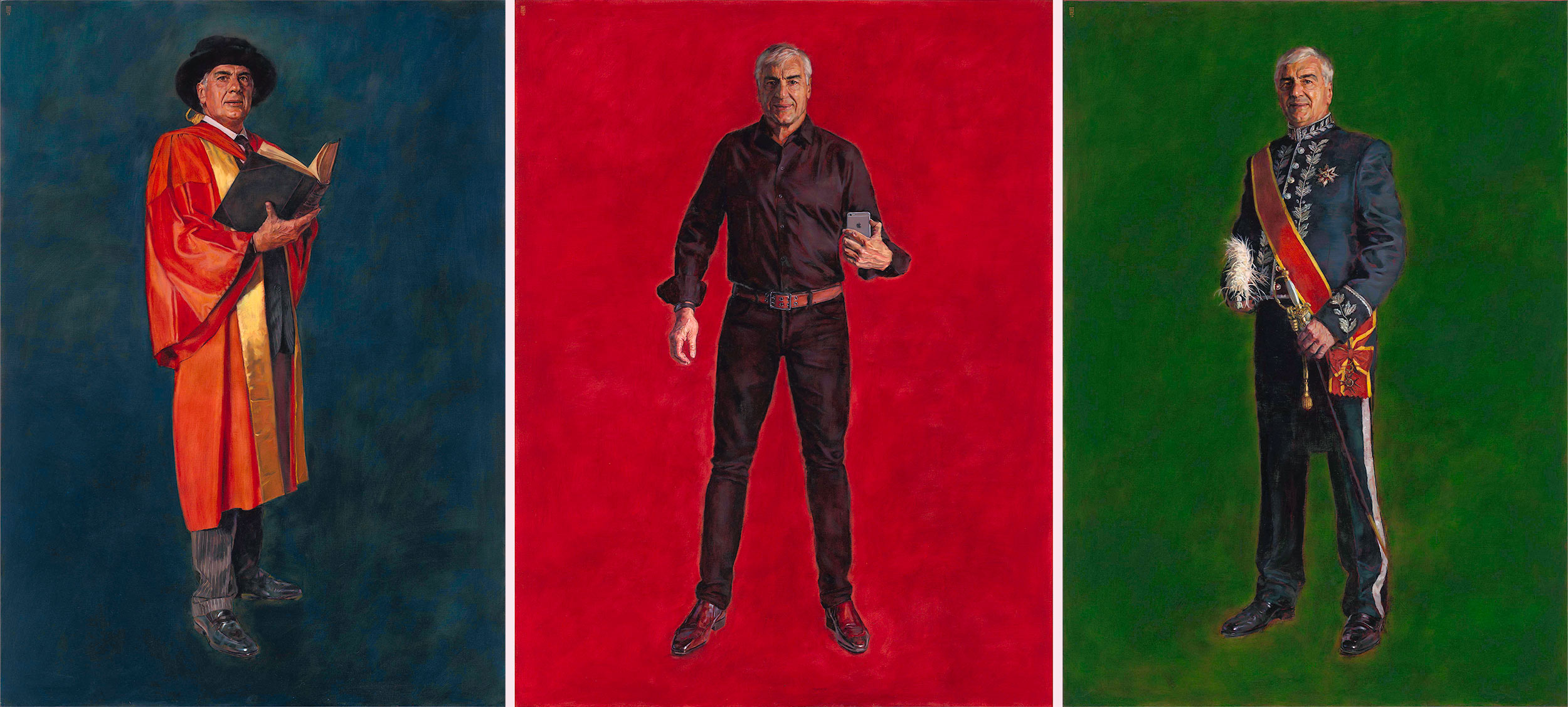 A Man In Uniform  - The Scholar, The Elvis Selfie (After Warhol) & The Papal Knight    Oil on linen 185 cm x 132 or 142 cm. 2019.  A site specific installation of portraits of Sir Michael Hintze conceived for the billiard room of country house, inspired by the various ceremonial uniforms or outfits pertaining to his life and career.