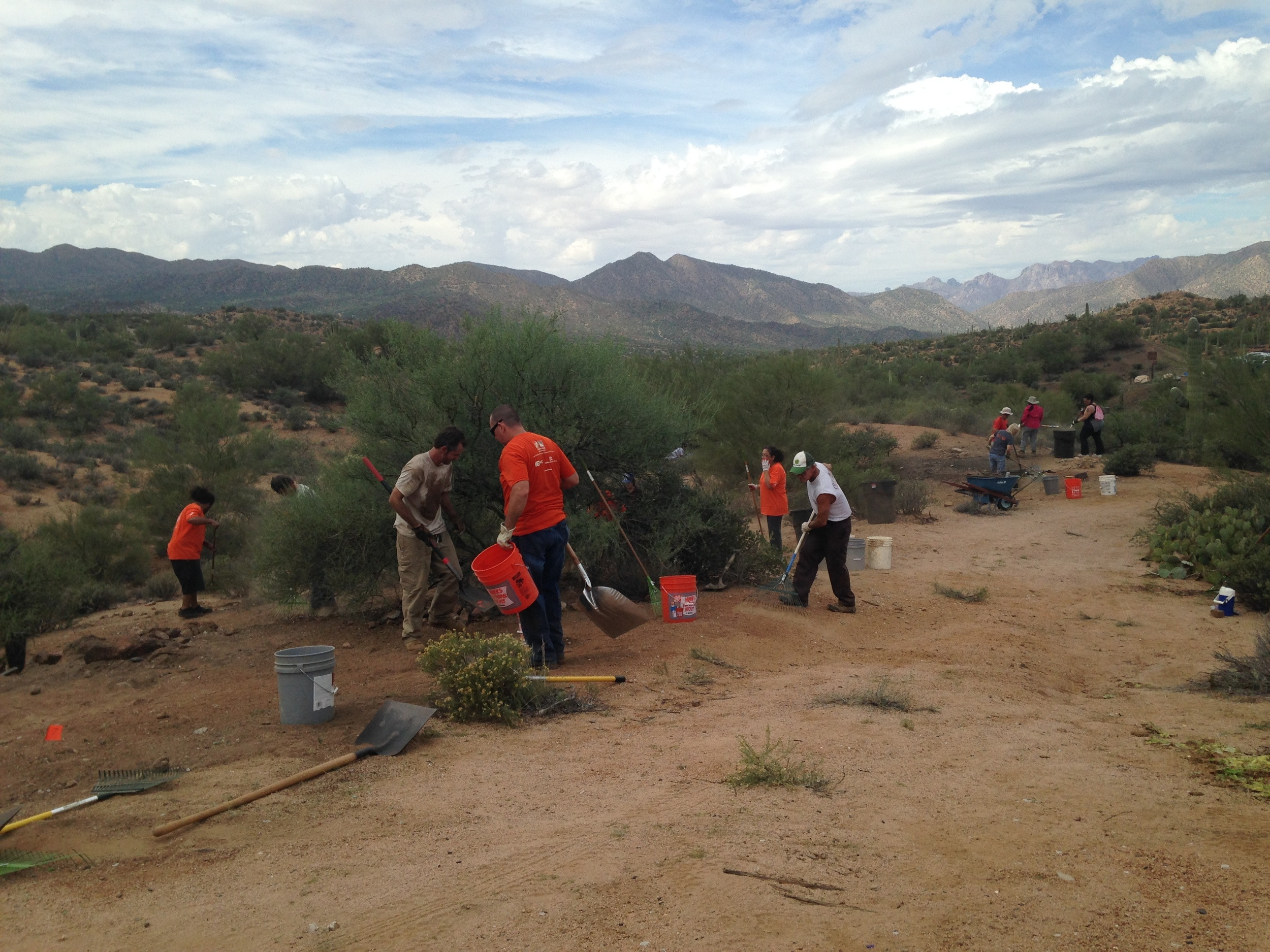 10/17/15 - Trash & Broken Glass Cleanup Project with volunteers at the Florence-Kelvin Trailhead of the Arizona Trail.Click HERE to view the entire restoration.