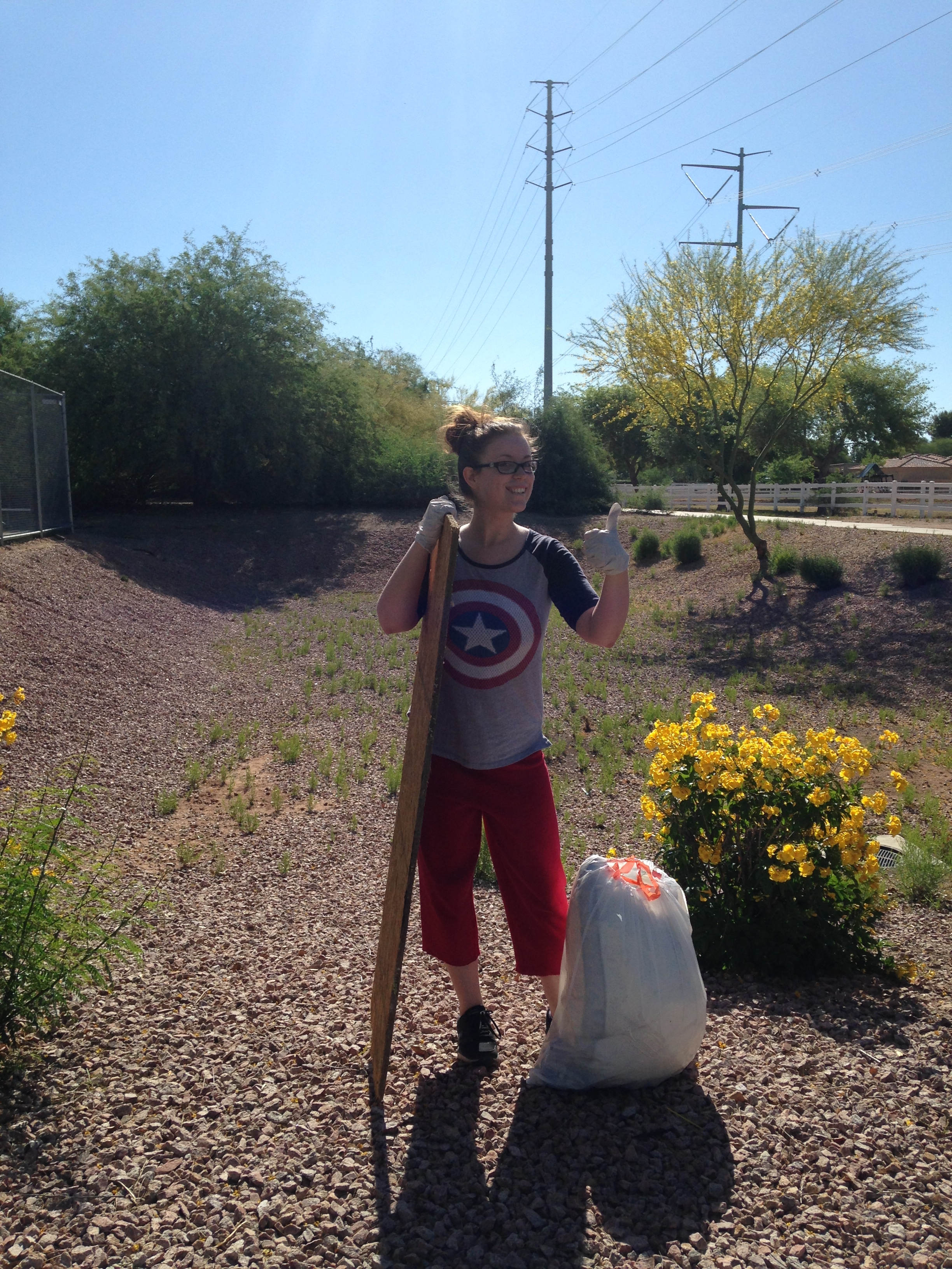 Shawna picked up scattered trash along a trail at the Gilbert Riparian Preserve.