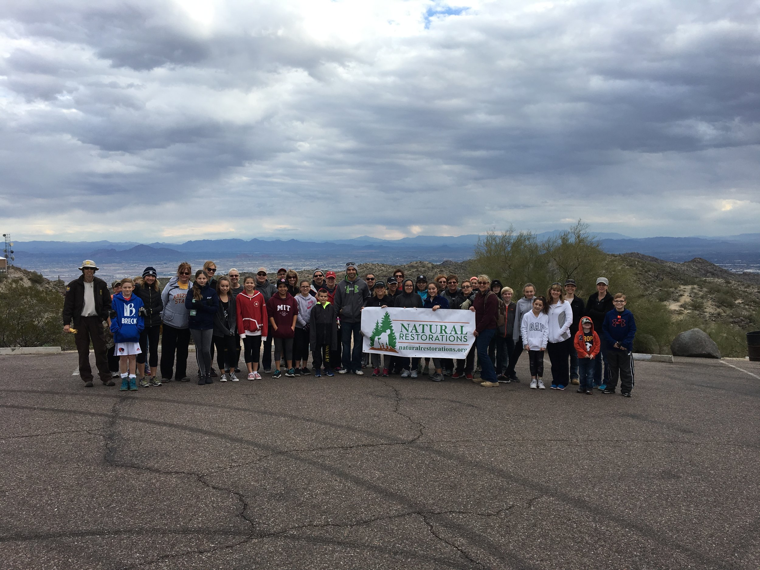 01/14/17 - Broken Glass & Trash Cleanup at the Gila Lookout at South Mountain Park with 6th Graders from San Tan Elementary School.Click HERE to view the entire restoration.