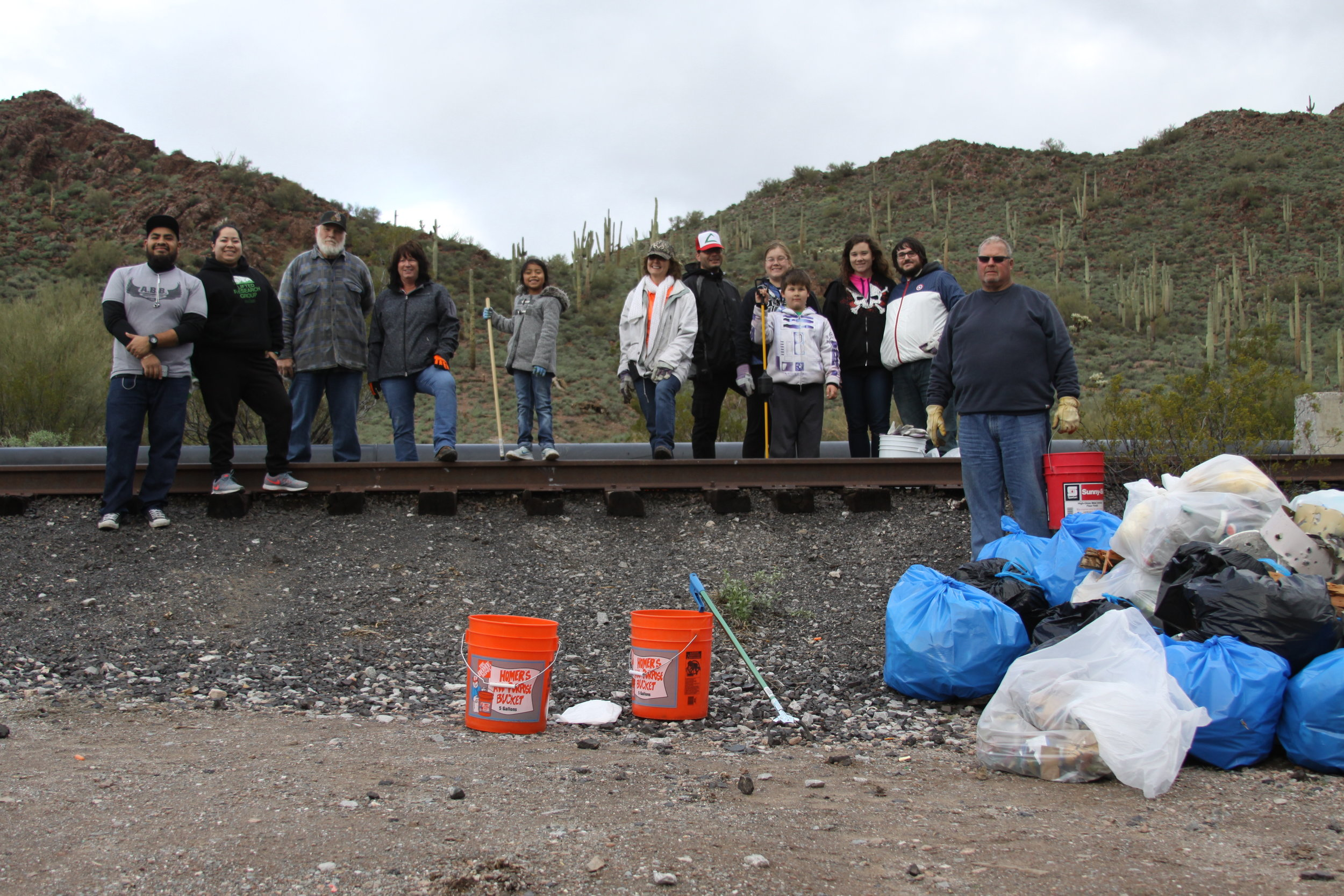 01/21/17 - Desert Trash Cleanup Project with Volunteers North of US-60 from Gold Canyon to Superior. Sites on both AZ State Trust land & the Tonto National Forest.Click HERE to view the entire restoration.
