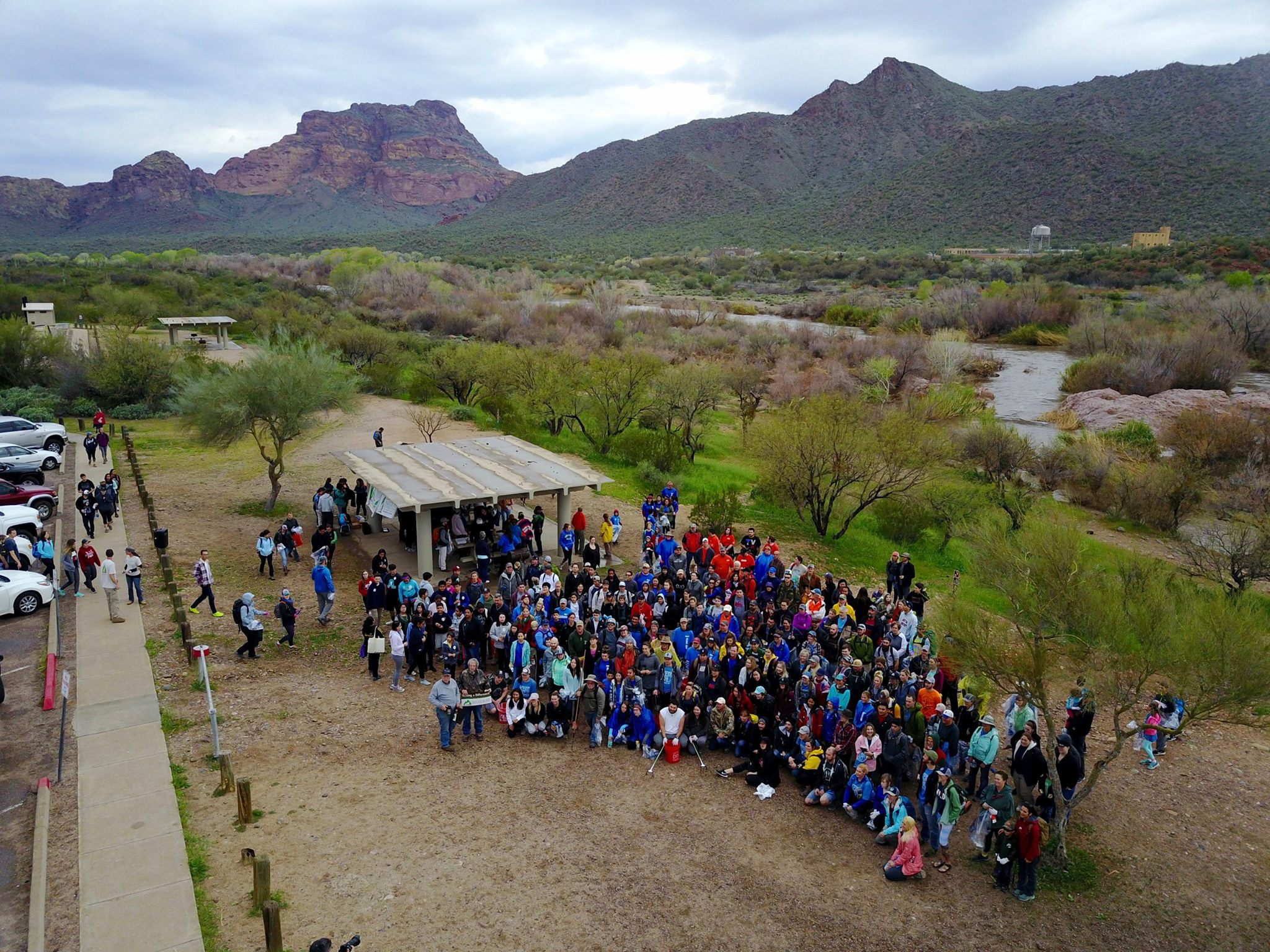 500+ volunteers start to arrive for a cleanup of the Lower Salt River.   Photo courtesy of Milo LeBaron