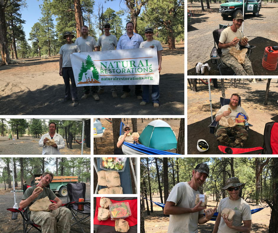 Our Dedicated Restoration Team enjoying lunches and snacks provided by Sprouts in Flagstaff