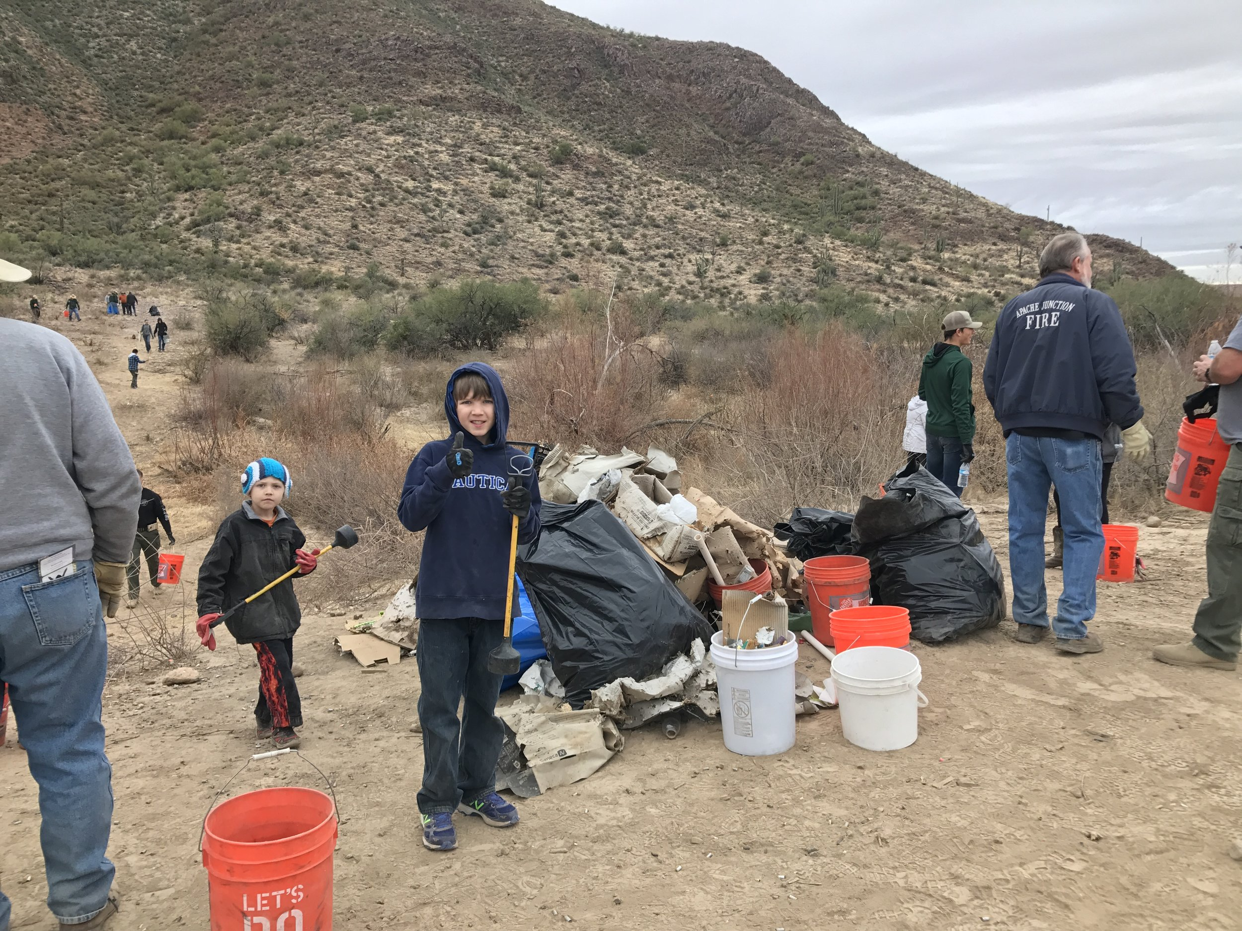 01/20/18 - 9th Annual Footprints Matter To Us Environmental Stewardship Event with volunteers north of US-60 from Gold Canyon to Superior. Sites on both AZ State Trust land & the Tonto National Forest.Click HERE to view the entire restoration.